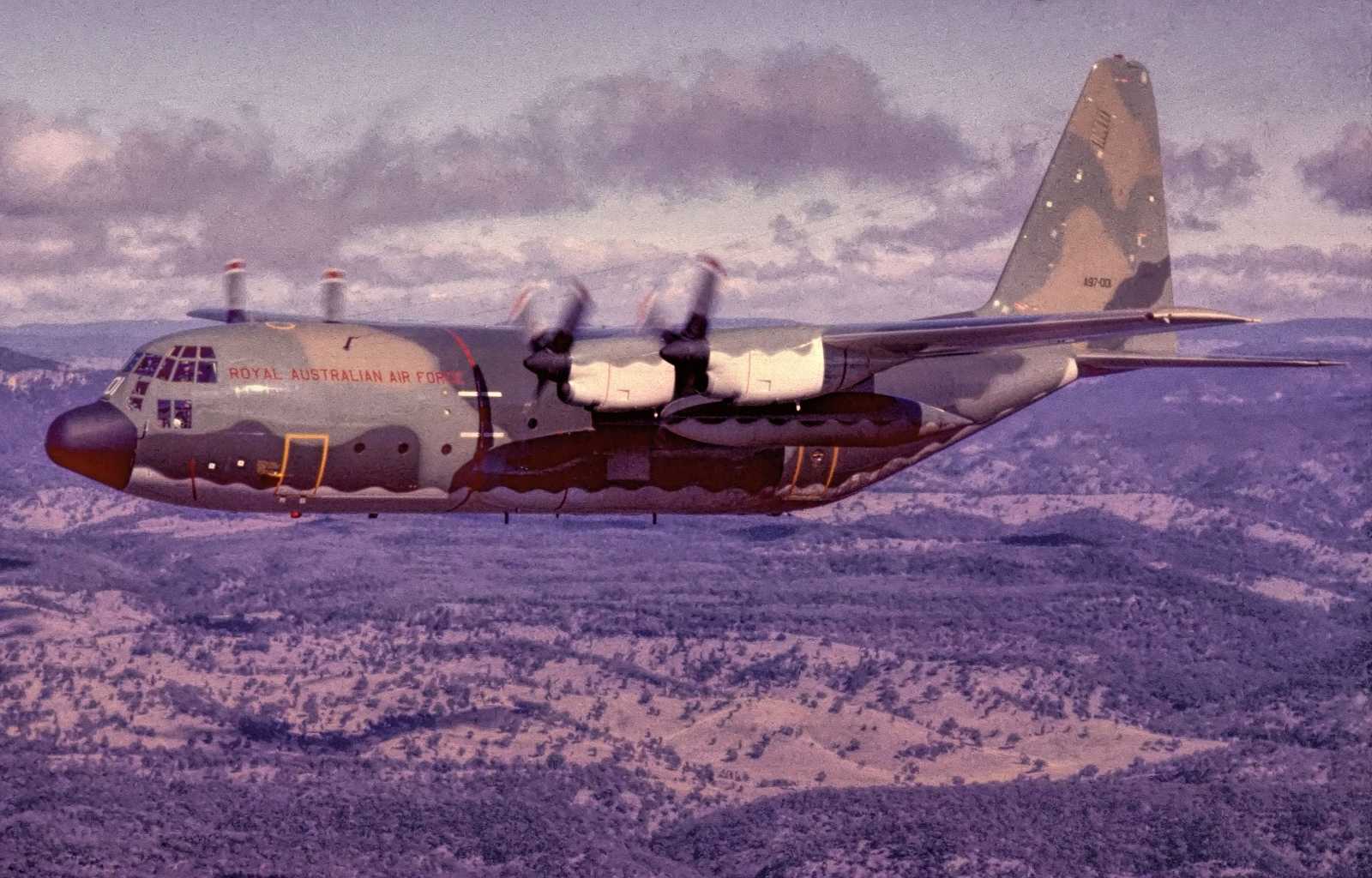 C130H, A97-001, shortly after delivery and in its original paint scheme.