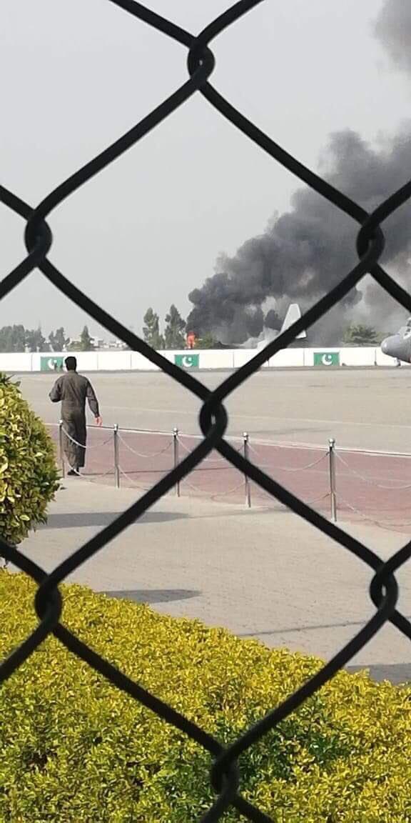 C-130 aircraft crash lands at Nur Khan airbase in Rawalpindi